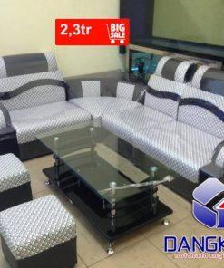 Sofa da góc kẻ sọc thanh lý