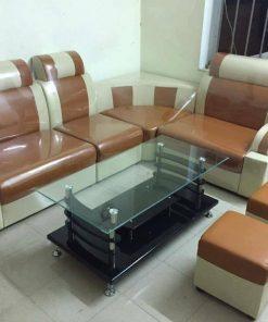 Sofa da góc màu vàng bò thanh lý